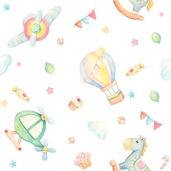 Aquarellmuster mit niedlichen tieren und spielzeugen. pferd, ballon, wolken, hubschrauber flugzeug süßigkeiten, kuchen