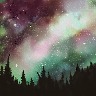 Aquarellnachtlandschaft mit bergen. hand gezeichnete naturillustration