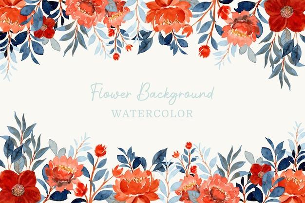Aquarellorangenblume und blauer blätterhintergrund