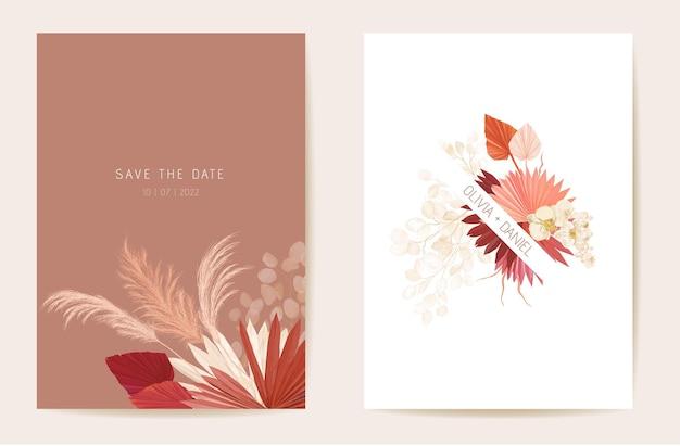 Aquarellorchidee, pampasgras, lunaria-blumenhochzeitskarte. vektor exotische blume, tropische palmblätter einladung. boho-vorlagenrahmen. botanische save the date laubabdeckung, modernes design poster