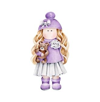 Aquarellpuppe im violetten kleid mit bär in der hand. mädchen spielzeug