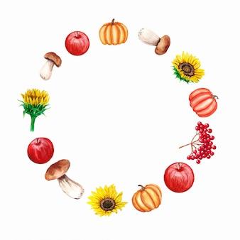 Aquarellrahmen mit pilzen, sonnenblumen, kürbissen, äpfeln, viburnum. dekorativer kranz der herbstfarm
