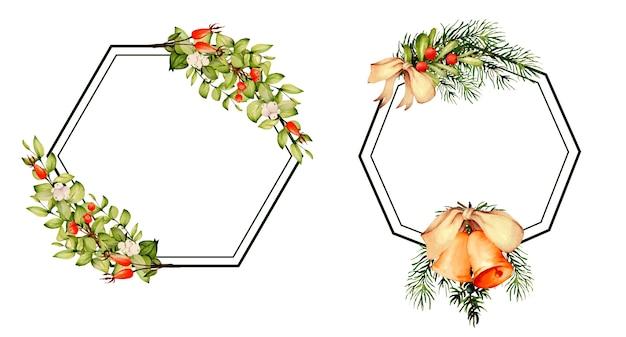 Aquarellrahmen mit weihnachtselementen