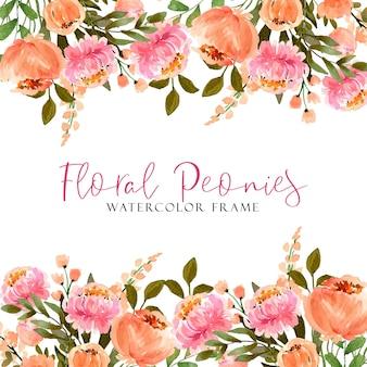 Aquarellrahmen rosa und pastellpfingstrosen