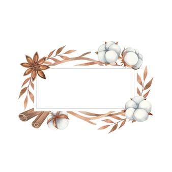 Aquarellrahmeneinladung auf einem weißen hintergrund. baumwollblumen, anis und zweige in brauntönen.