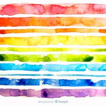 Aquarellregenbogen streift hintergrund