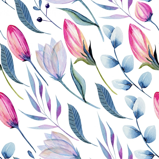 Aquarellrosa blumenknospen und nahtloses muster der blauen zweige