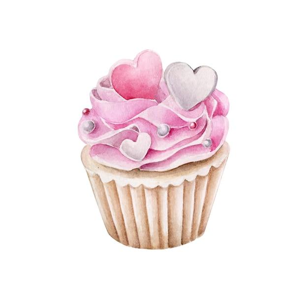 Aquarellrosa cupcake mit herzplätzchen