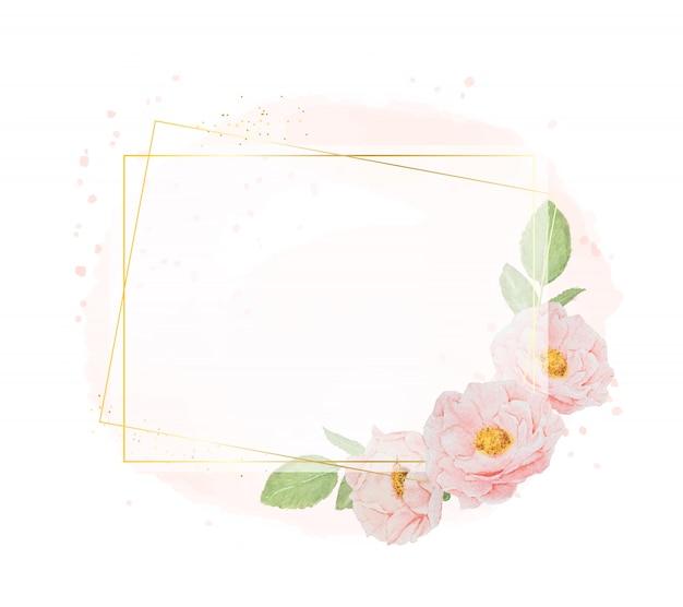 Aquarellrosa rosen mit goldenem kranzrahmen auf aquarellhintergrund mit kopienraum