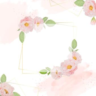 Aquarellrosa rosen mit goldenem rahmenquadrathintergrund