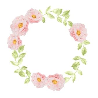 Aquarellrosa rosenblumenstraußkranzrahmen für banner oder logo