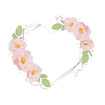 Aquarellrosa rosenherzrahmen mit glitzer