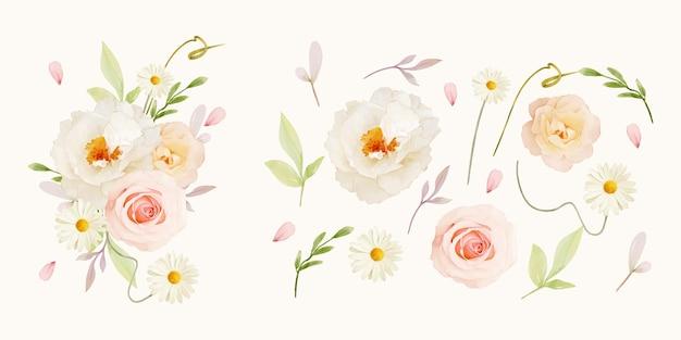 Aquarellrosen-gänseblümchen- und pfingstrosenblumensammlung