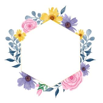 Aquarellrosen rosa, gelb und lila mit geometrischem rahmen