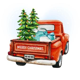 Aquarellroter weihnachtsweinlesewagen mit bäumen und geschenken