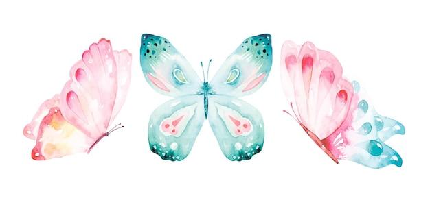 Aquarellsammlung von fliegenden schmetterlingen.