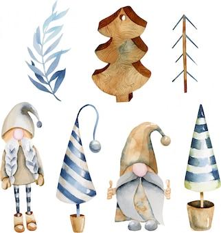 Aquarellsammlung weihnachtsbaumspielwaren und skandinavische elfen