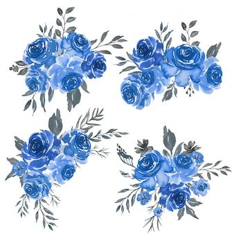Aquarellsatz der blauen rahmenmit blumenanordnung