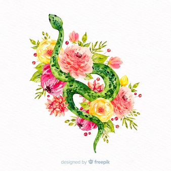 Aquarellschlange mit blumenhintergrund