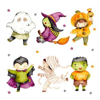 Aquarellset mit niedlichem halloween-charakterkostüm