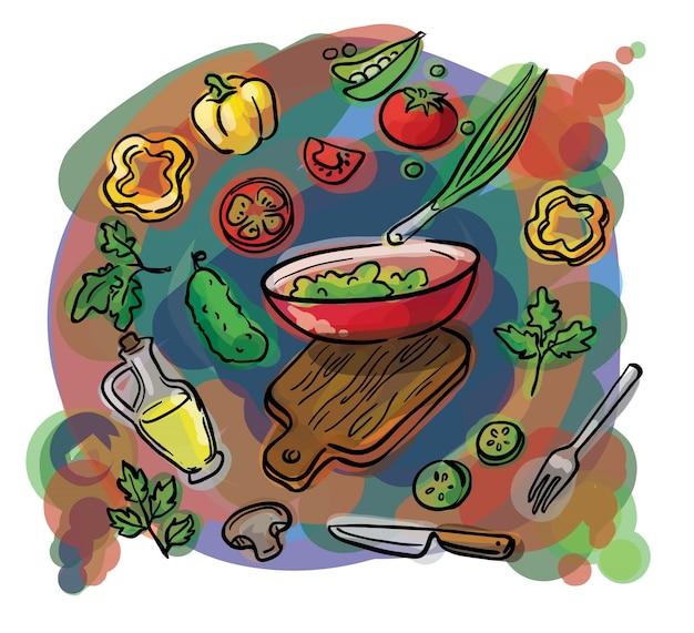 Aquarellskizze eines satzes bestandteile für salat