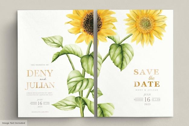 Aquarellsonnenblumenhochzeitseinladungskarte