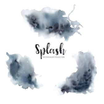Aquarellspritzen mit gemischter schwarzer, weißer, blauer illustration für dekorativen gebrauch.