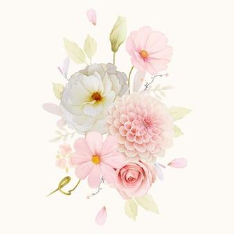 Aquarellstrauß aus rosen und rosa dahlie