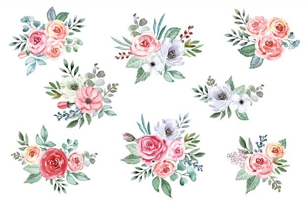 Aquarellstrauß der blumensammlung. sanfte rosen, pfingstrosen, anemonenblüten, isoliert.