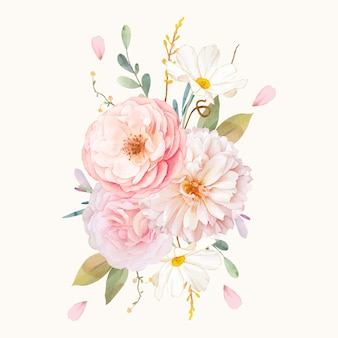 Aquarellstrauß der rosa rosen und der dahlie