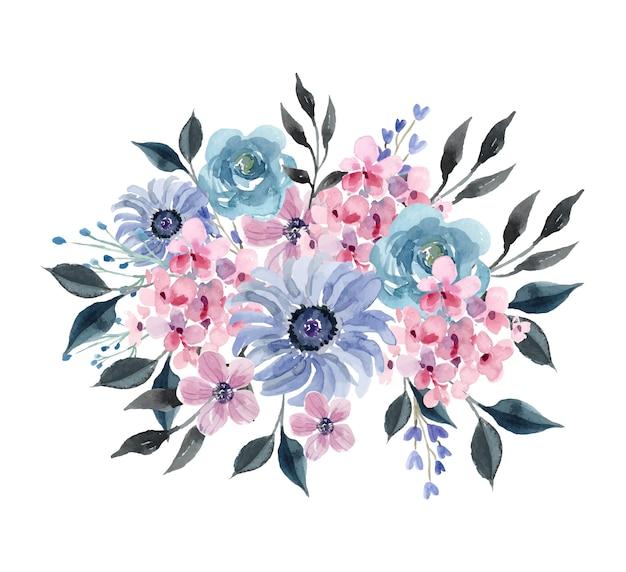 Aquarellstrauß mit blauer winterrose