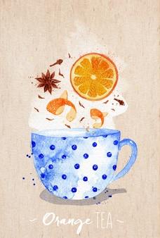 Aquarellteacup mit orange tee, nelken, anis, der auf kraftpapierhintergrund zeichnet