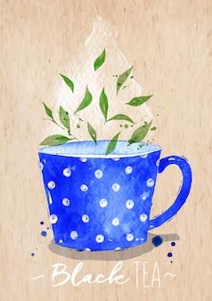 Aquarellteetasse mit dem zeichnen des schwarzen tees auf kraftpapierhintergrund