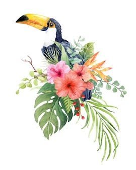 Aquarelltukanvogel auf der niederlassung mit tropischem blatt