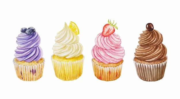 Aquarellvektorsatz von cupcakes mit blaubeere, schokolade, erdbeere und banane lokalisiert auf einem weiß
