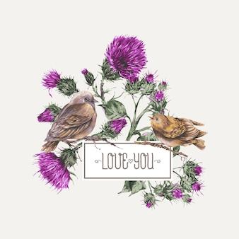 Aquarellvogel auf einem zweig mit distelgrußkarte botanische illustration