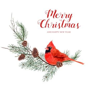 Aquarellvogel weihnachten mit kiefer- und kiefernkegel.