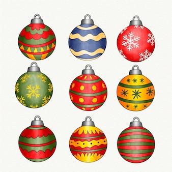 Aquarellweihnachtsball-verzierungssammlung