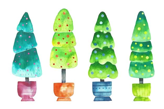 Aquarellweihnachtsbaumsammlung