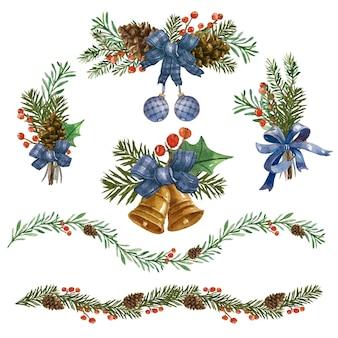 Aquarellweihnachtsdekorationsillustration