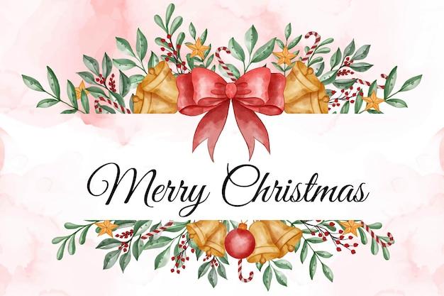 Aquarellweihnachtshintergrund mit blättern, beere und weihnachtslichtball
