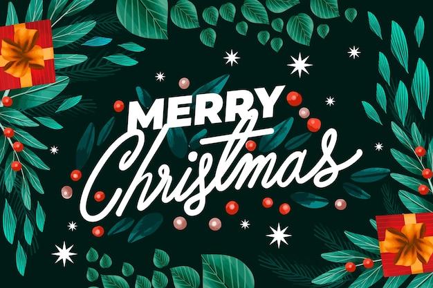 Aquarellweihnachtshintergrund mit blättern und geschenken