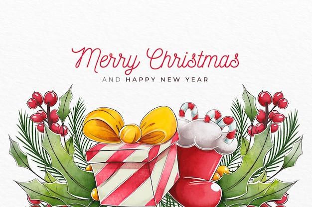 Aquarellweihnachtshintergrund mit geschenk und socke