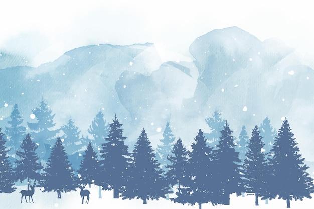 Aquarellweihnachtshintergrund mit tannenbäumen