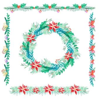 Aquarellweihnachtsrahmen und -grenzen