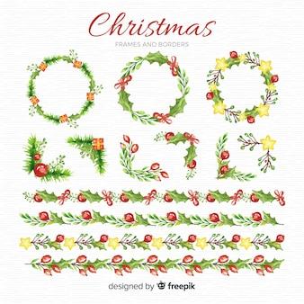 Aquarellweihnachtsrahmen und grenzsatz