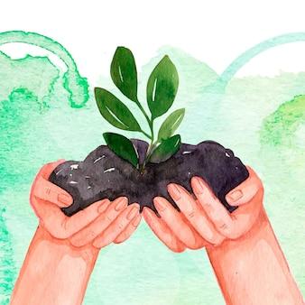 Aquarellweltumwelttag mit pflanze in händen