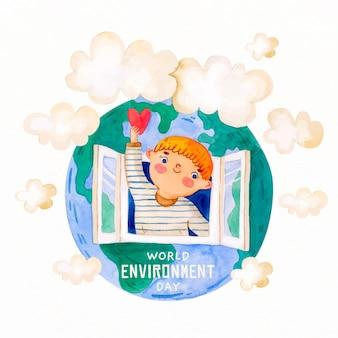 Aquarellweltumwelttagillustration mit niedlichem jungen, der ein herz hält