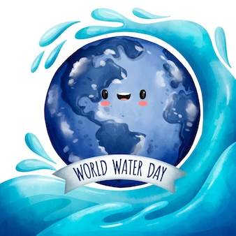 Aquarellweltwassertagillustration mit planeten