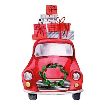 Aquarellzeichnung weihnachtsauto süßes rotes auto mit weihnachtskranz und geschenken